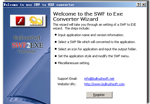 Click to view BullrushSoft Swf to exe Converter 2.03 screenshot