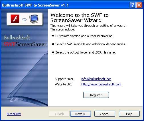 Click to view BullrushSoft SWF to ScreenSaver 1.71 screenshot